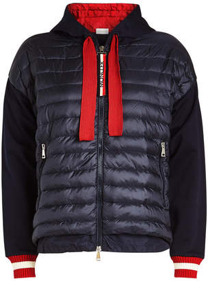 Moncler Quilted Down Jacket with Knit Sleeves