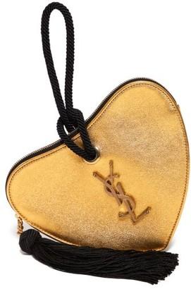 Saint Laurent Sac Coeur Monogram Metallic Leather Clutch - Womens - Gold
