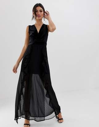 TFNC v neck maxi dress with lace insert