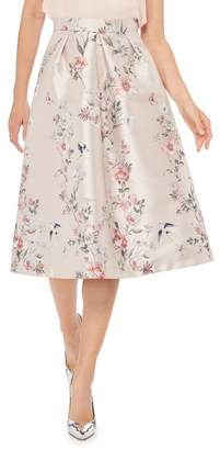 Debut Pale Pink Floral Print 'Jena' Knee Length Prom Skirt