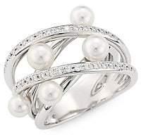 Mikimoto Women's 4.25MM White Cultured Akoya Pearl & Diamond 18K White Gold Ring