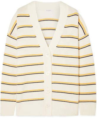 Equipment Elder Striped Wool And Cashmere-blend Cardigan