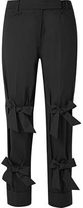 Simone Rocha Bow-embellished Wool-blend Twill Straight-leg Pants - Black