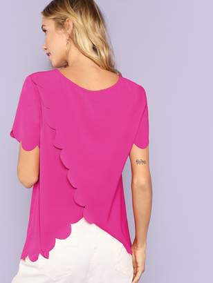 Shein Scallop Edge Tulip Back Top