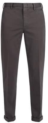 Prada Slim Fit Cotton Blend Chino Trousers - Mens - Dark Grey