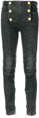 Balmain six-button skinny jeans