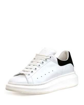 Alexander McQueen Leather Lace-Up Platform Sneaker, White/Black $575 thestylecure.com
