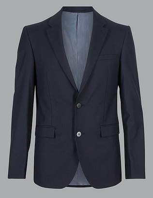 Marks and Spencer Navy Tailored Fit Italian Wool Jacket