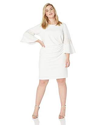 Jessica Howard Plus Size Womens Bell Sleeve Side Tuck Sheath Dress with Beading