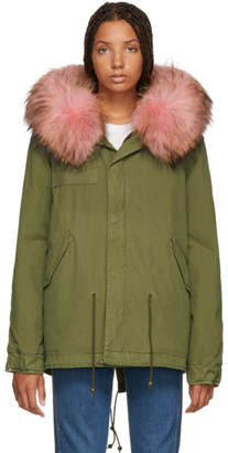 Mr & Mrs Italy Green and Pink Interior Quilt Fur Jacket