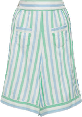 Thierry Colson Striped Long Silk Shorts