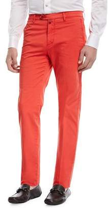 Kiton Slim-Straight Flat-Front Chino Pants