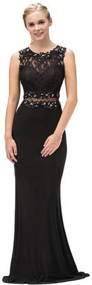 Dancing Queen - Long Mock Two-Piece Formal Dress with Lace Bodice 9321 $147 thestylecure.com