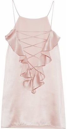 CAMI NYC The Ruffle Charlie Lace-Up Silk-Charmeuse Camisole