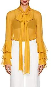 Prabal Gurung Women's Ruffled Silk Chiffon Blouse - Ochre