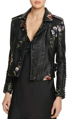 BLANKNYC Studded Embroidered Faux Leather Motorcycle Jacket - 100% Bloomingdale's Exclusive $168 thestylecure.com