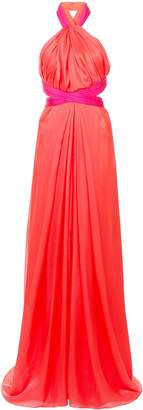 Brandon Maxwell Two-Tone Gathered Halter Gown