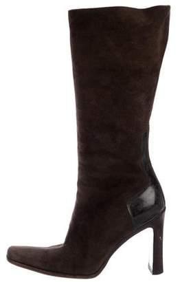 Gucci Suede Square-Toe Mid-Calf Boots