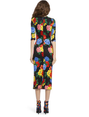 Alice + Olivia DELORA FITTED MIDI DRESS