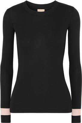 Neve Vaara Striped Ribbed Stretch-modal Jersey Top - Black