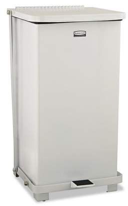 Rubbermaid Commercial Defenders Biohazard Step Can, Square, Steel, 12gal, White