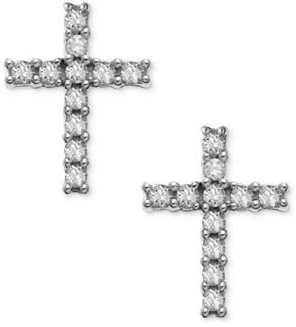 Macy's 14k White Gold Earrings, Diamond Accent Cross Stud Earrings