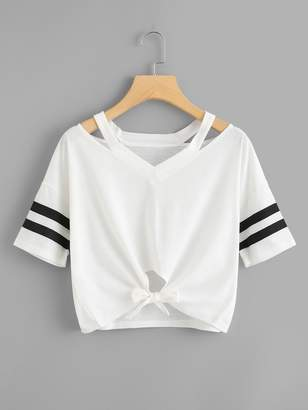 Shein Cut Out Neck Varsity Striped Knot Front Tee