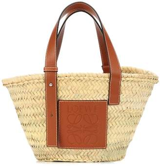 Loewe Leather trimmed basket tote