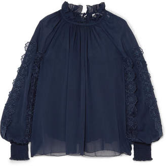 See by Chloe Shirred Appliquéd Chiffon Blouse - Navy