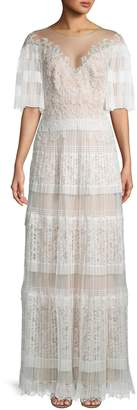 Tadashi Shoji Flutter Sleeve Pleated Lace Gown