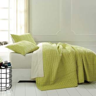 Ashton & Willow Lime Sherbet Green Boho & Eclectic Bedding Rochelle Cotton Pre-Washed Ruched Ruffle Voile Solid Color Twin Quilt Set (Quilt, Sham)