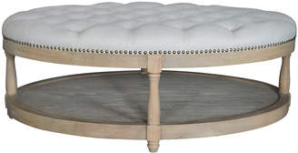 S & G Furniture Adam Oval Tufted Oak Ottoman
