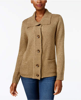Karen Scott Petite Wing-Collar Cardigan
