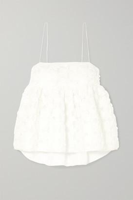 Sophie Bille Brahe Cecilie Bahnsen - + Open-back Appliqued Mesh Camisole - White