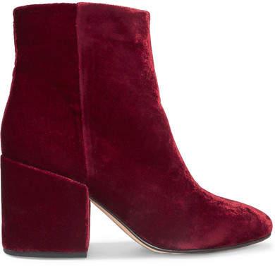 Sam Edelman - Taye Velvet Ankle Boots - Burgundy