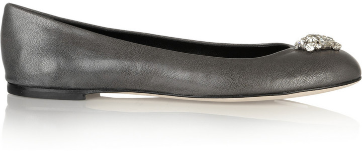 Giuseppe Zanotti Crystal-embellished leather ballet flats