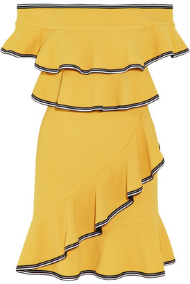 Rebecca Vallance - Courtside Off-the-shoulder Ruffled Stretch-cloqué Mini Dress - Yellow $505 thestylecure.com
