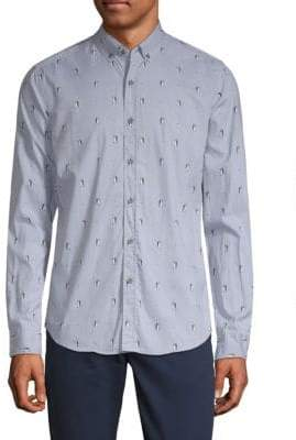 Report Collection Penguin-Print Button-Down Shirt