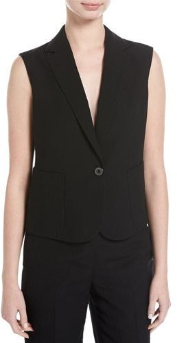 Akris Akris Seersucker Silk-Wool Vest, Black