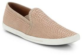 Joie Kidmore Crocodile-Embossed Leather Sneakers $190 thestylecure.com