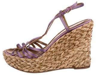 Saint Laurent Velvet Platform Wedge Sandals