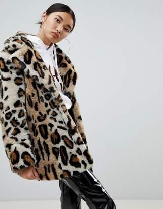 NA-KD faux fur leopard print short jacket