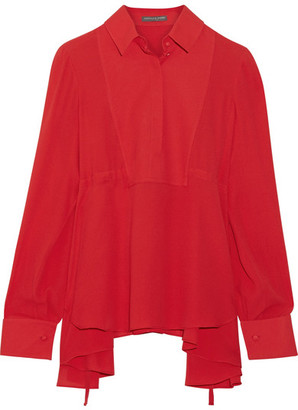Alexander McQueen - Asymmetric Silk-georgette Blouse - Red $1,145 thestylecure.com