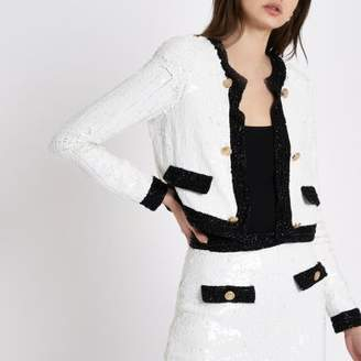 River Island Womens White all over sequin trophy jacket