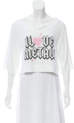 Wildfox Couture Graphic Print Cropped Sweater
