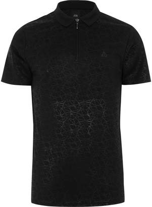River Island Mens Black geo print slim fit polo shirt