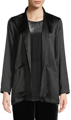 Eileen Fisher Silk Crepe-Back Satin Blazer