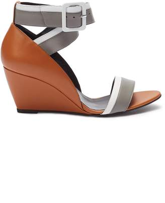 Pierre Hardy 'Alpha' colourblock ankle strap leather wedge sandals