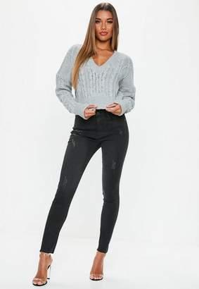 Missguided Black Clean Distressed Skinny Jeans