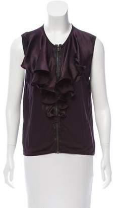 Lanvin Sleeveless Ruffle-Trimmed Top